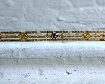Vintage 14K Yellow Gold Sapphire Bar Pin/ Brooch.
