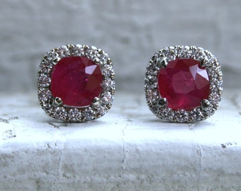 Vintage Diamond Halo and Ruby Stud Earring in 18K White Gold - 3.64ct.