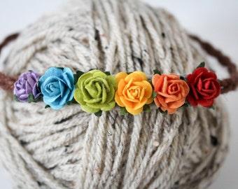 Rainbow Floral Headband, Photography Prop, Elastic Back Twine