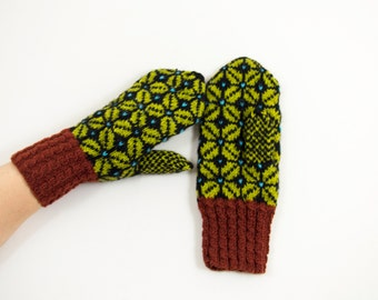 Hand Knitted Mittens - Black, Brown and Green, Size Medium