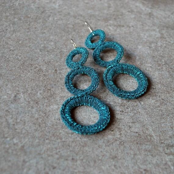Long crochet earrings / Green hoop earrings / Crochet jewelry / Fine crochet jewelry / Unique gift for her under 20