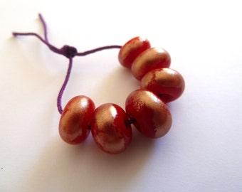 red and bronze handmade lampwork glass bead set, UK