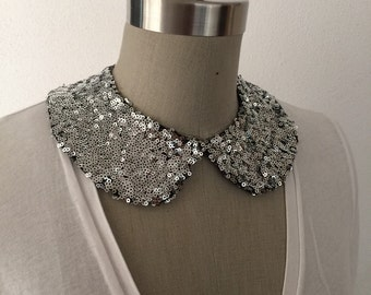 NEW COLOR: Silver Sequin Peter Pan Collar Necklace with Jewelry Closure Back