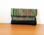 Batik foldover clutch, Hmong hilltribe design fabric handbag,  green cotton with handsewn embroidery and black leather pouch. Ready to ship