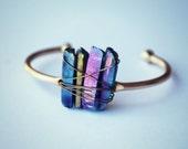 titanium quartz cuff bracelet, crystal bracelet, quartz jewelry, crystal jewelry, gold cuff, stone cuff