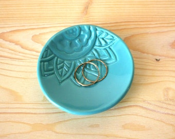 Turquoise Ring Holder - Trinket Dish- Gift for Bridesmaids - Wedding Shower Favor - Ring Bowl - Turquoise Wedding Keepsake - Handmade Favor