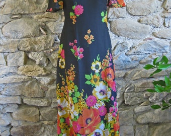 1970s black floral maxi dress by Robert Kahn size 42
