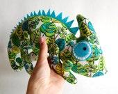 Chameleon soft toy kids Cotton green stuffed animal woodland creatures