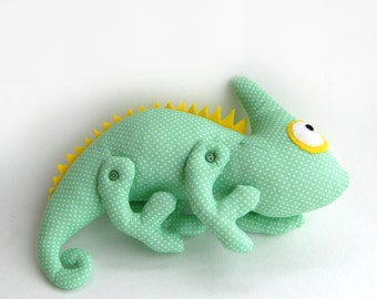 Plush Chameleon - stuffed lizard - stuffed animal - soft toy iguana - tropic africa - toy reptilia - pet chameleon - plush animal toys