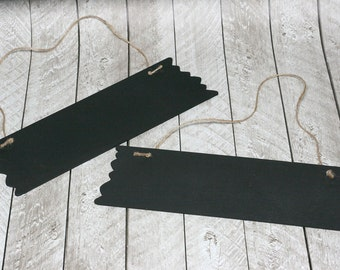 Large Chalkboard Signs with Twine- Set of 2 - 10  inches by 3.375 inches