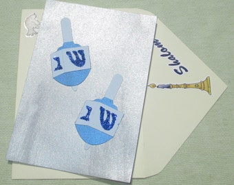 Happy Hanukkah Dreidel Holiday Card - Handmade Cards
