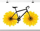 Happy Sunflower  Bicycle art print, Bike poster, Mixed media Decorative art POSTER 8x10