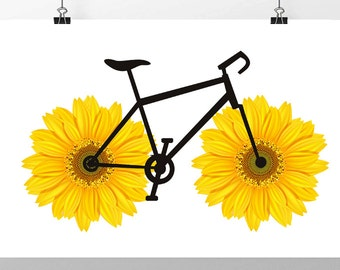 Happy Sunflower  Bicycle art print, Bike poster, Mixed media Decorative art POSTER 8x10