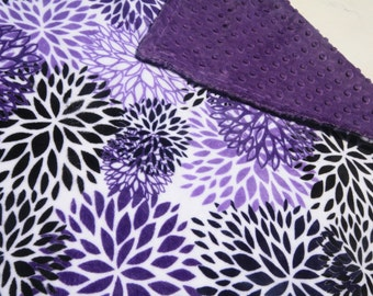Baby Girl MINKY Blanket, Minky Baby Blanket, Baby Girl Blanket, Flower Baby Blanket, Ready toShip Girl Baby Blanket, Purple and Grey Blanket