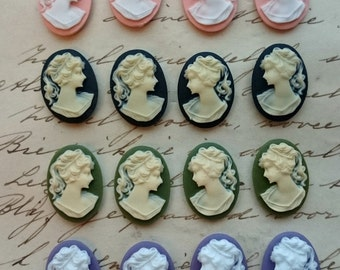 16 Unset Lady Cameos, 8 pairs  - ivory white green purple black pink - 18x13mm - LEFT AND RIGHT Cabochon Cabs Cameos