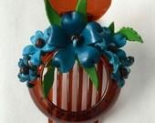 matilda's big hair clip - flower all around blu