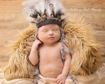 Newborn Indian Headdress, boys, girls, feathers, headband, black, brown, white, leather, newborn photo prop, ready to ship