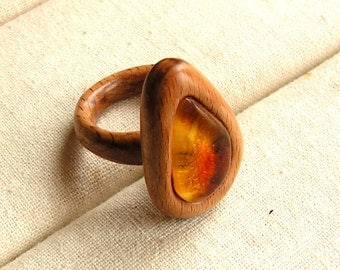 Delicate wooden ring with natural baltic amber Hand carved jewelry