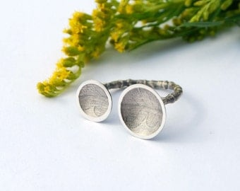 Open ring fern printed botanical sterling silver minimalist ring