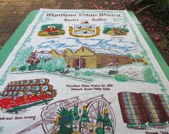 Tea Towel Vintage Wyndham Estate Winery of Australia. 1980s.