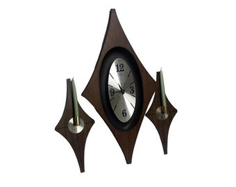 Vintage Mid Century Modern Welby Wall Clock & Sconce Set Danish Modern