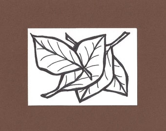 ACEO, Leaves, ATC, Art Trading Card, Original Drawing, Ink, Kid Friendly