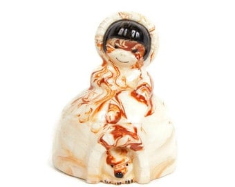 Vintage Eskimo Igloo Bank Husky Dog Brown Swirl Glaze Still Bank Porcelain Piggy Bank