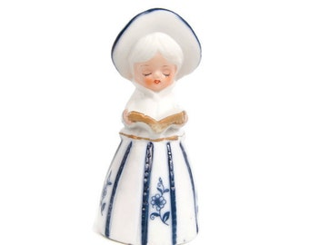Vintage Blue and White Bell Porcelain Lady Figurine Royal Majestic Bells JASCO Figural Bell Quality Bisque