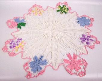 Vintage Crochet Flower Doily Colorful Lace Runner Pastel Hand Crocheted Table Linen Wedding Gift Sunburst Center Vanity Decor