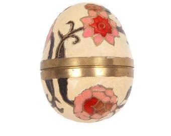 Vintage Solid Brass Egg Trinket Holder Hand Painted Enamel Pinks and Greens Cloisonne Decor