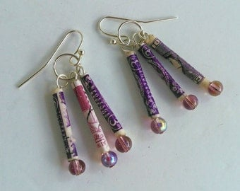 Purple recycled postage stamp earrings unique lightweight paper beaded handmade gypsy jewelry travel lovers philately gift