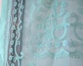 Feminine Vintage Semi-sheer Aqua Silk Scarf - Delicate Green-Blue Head Wrap/Scarf - Vintage Gift Scarf/Free Shipping/U.S.