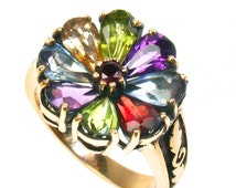 Multi-Color Floral Ring, 9ct 9k Gold, Vintage Ring, Womens Flower Antique Ring, Various Gems + 14k 18k Rose White Gold R214