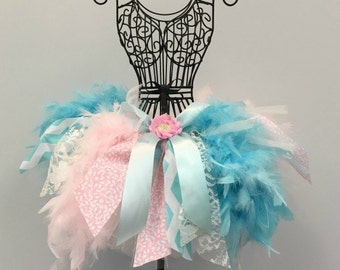 Feather & Lace Tutu Skirt Jumble Feather Dress Pageant Toddler - Pink / Aqua Feather Light Blue Teal Birthday Cake Smash Vintage Dress