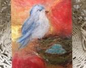 Bird Art/Bird Greeting Card/Bird Note Card/Blue Bird Art/Nature Card/Nature Note Card/Original Art Card/Folded Bird Card/FREE SHIPPING