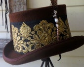 Top Hat gold embroidery feather brown wool size Large 59cms unisex Burning Man Festival steampunk