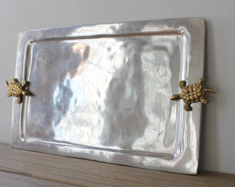Vintage boho eclectic metal tray / bohemian brass turtle decor tray / quirky turtle serving tray / minimalist global style / gray gold color
