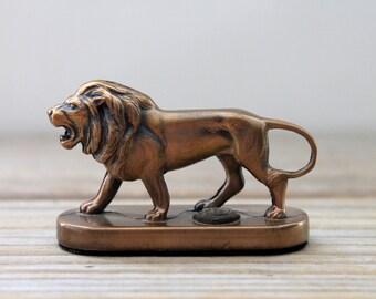 Copper color lion vintage figurine / Leo pocket totem / Lions Club International mini lion statue / desk decor paperweight lion collectible