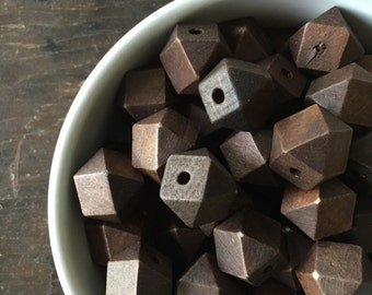 Princeton Chunky Geometric Cube Dark Brown Wood Beads - Extra Large 20mm - Perfect for Trendy Necklace Love (10)