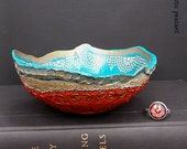 Bohemian Ring Bowl - Laguna Blue Khaki Tan Bronzed Poppy Ebony Ivory - Gypsy Ring Bowl - Handmade Textured Polymer Bowl