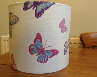 Handmade 20 cm Drum lampshade in cream butterfly fabric