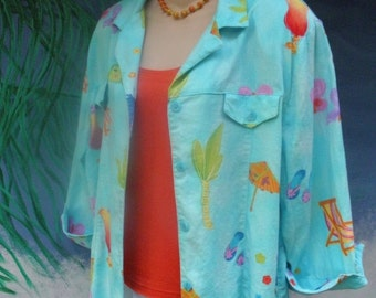 HUGE 60% OFF Vintage 1980's Linen Tropical 3/4 Sleeve Turquoise Linen Jacket/Shirt, by Sea Suns, Umbrella Drinks, Flip Flops, sz M-L