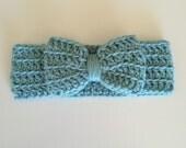 SALE ready to ship Crochet headwrap, crochet headband with bow, crochet bow, crochet ear warmer, mustard, fall, burgundy, purple, black, gra
