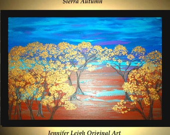 Original Large Abstract Painting Modern Acrylic Painting Oil Painting Canvas Art SIERRA AUTUMN Gold Trees 36x24 Textured Wall Art  J.LEIGH