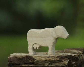 Unfinished Cow Wooden Toy  - Nature Table - Waldorf Animal