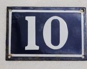Vintage French enamel cobalt blue and white house number plaque - number 10