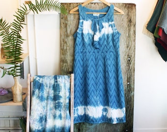 Sun dress size M, indigo hand dyed dress, one of a kind clothing by blumenkinder, sustainable clothing
