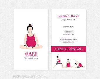 pregnant yoga business cards - thick, color both sides - FREE UPS ground shipping
