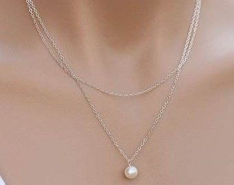 Silver Plated Metal Chain Link Layered Single White Freshwater Pearl Necklace