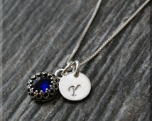 Sapphire September Birthstone Necklace, Sterling Silver Sapphire Pendant, Personalized Birthstone Charm Necklace, Initial Charm Necklace
